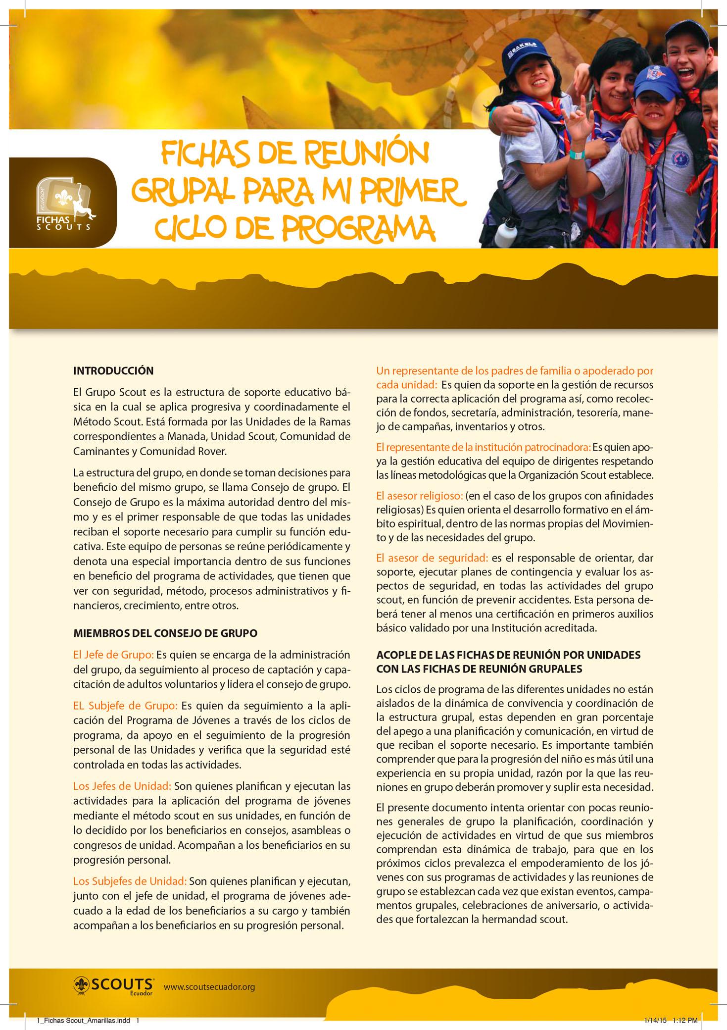 1 Fichas Scout Amarillas