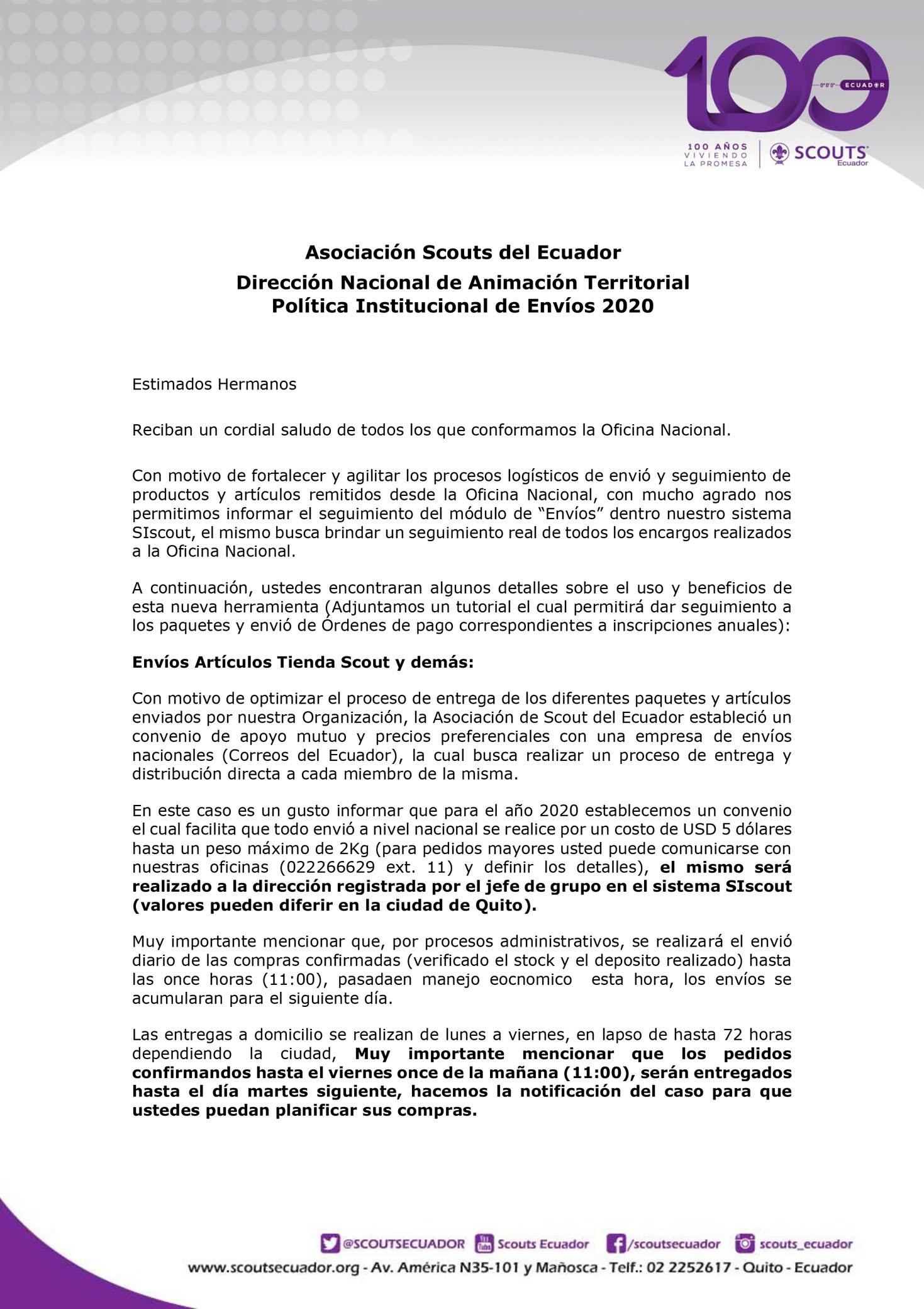 Politica de envios Scouts Ecuador 2020